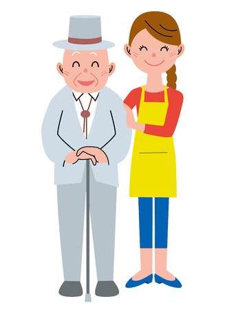 older woman smiling: Assistance Stock Photo