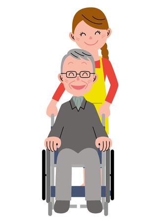휠체어에있는 노인