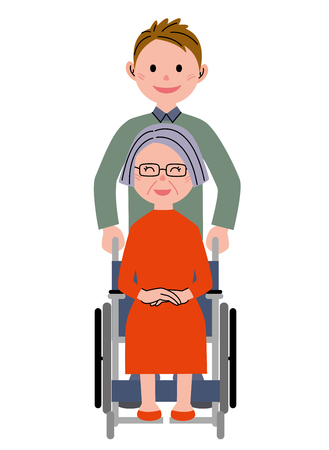 assisted: Elderly woman in the wheelchair