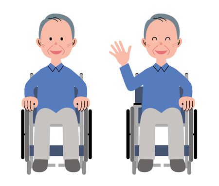 asian adult: Man in a wheelchair Stock Photo