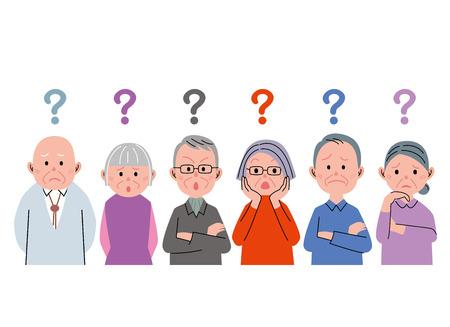 dissatisfied: Senior question Stock Photo