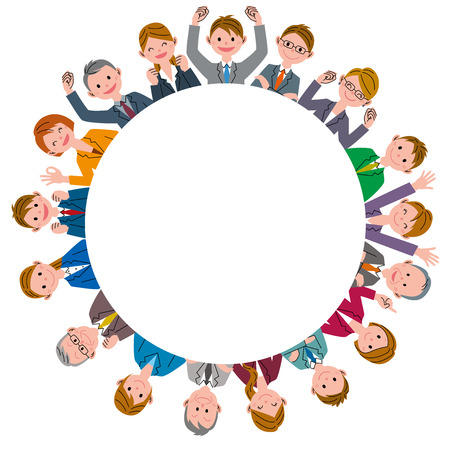 asian business group: Office workers  in circle