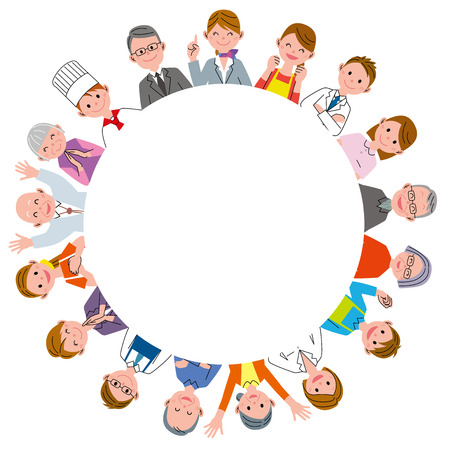 teamwork cartoon: people with different occupation in circle Stock Photo