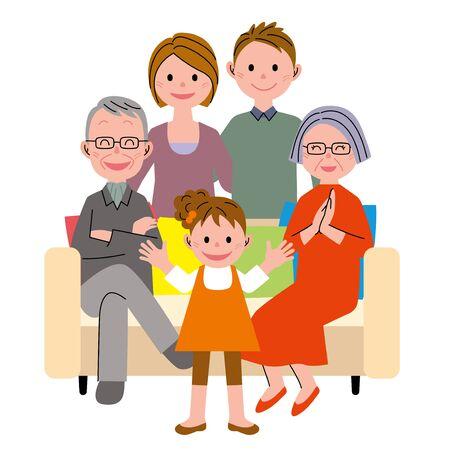 ソファの家族の世代