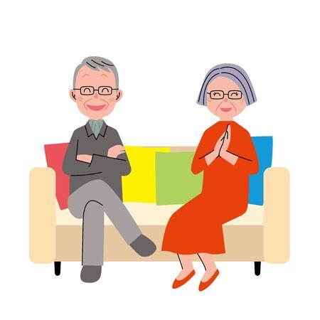 Le couple de personnes âgées qui est assis sur un canapé Banque d'images - 49160638