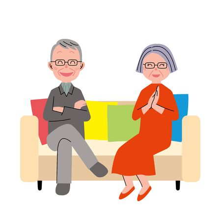 The couple senior who sits down on a sofa