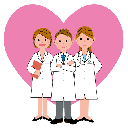 Heart-shaped and 3 health care workers