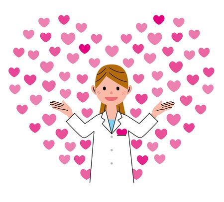 white coat: Heart-shaped and health care worker Stock Photo