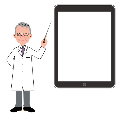 white coat: Man in a white coat and tablet Illustration