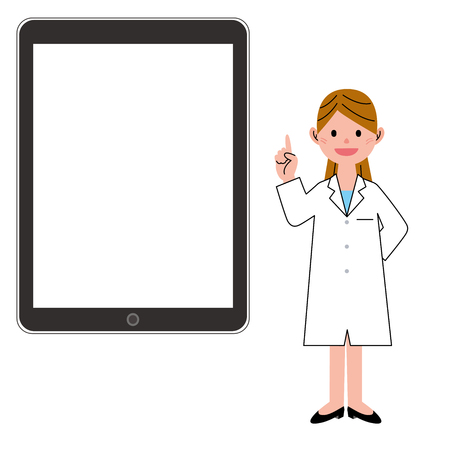 woman tablet: Woman in a white coat and tablet