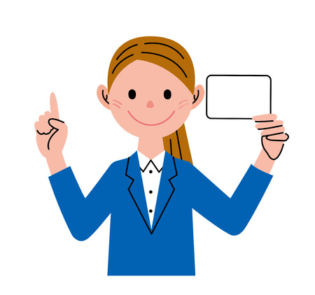 businesswoman card: Businesswoman Card Pointing