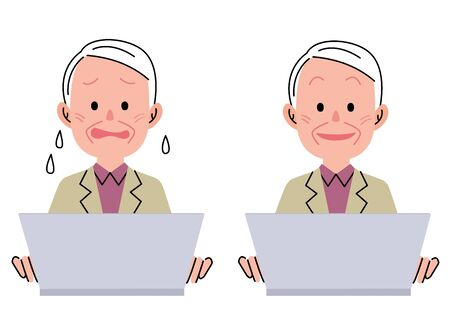 asian man laptop: Middle-aged man and laptop Stock Photo