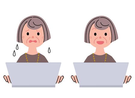 old pc: Middle-aged woman and laptop