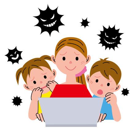 女性ノート パソコン ウイルス 写真素材
