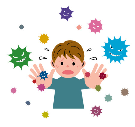 virus organism: Boy with virus Stock Photo