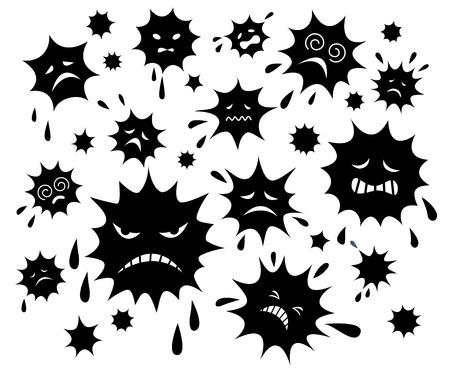elimination: Bacteria elimination. Black color Illustration
