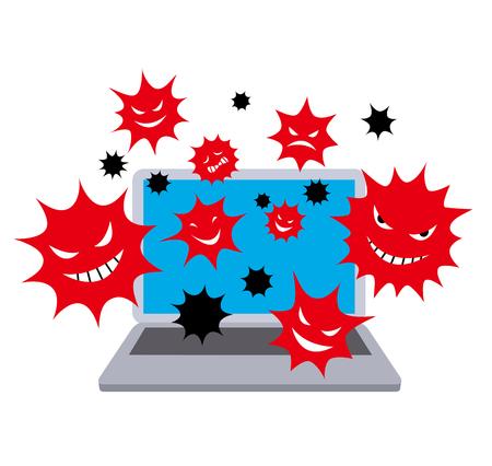 Computer virus. color Illustration