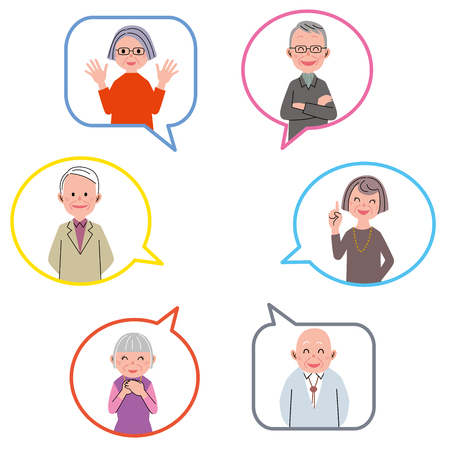 active adult community: Aged people in the balloon