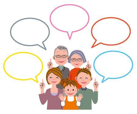 Family talking with speech balloon