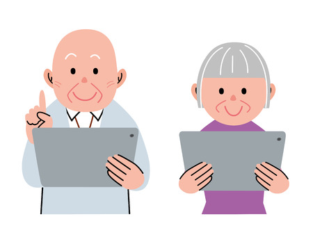 Aged people using a tablet  イラスト・ベクター素材