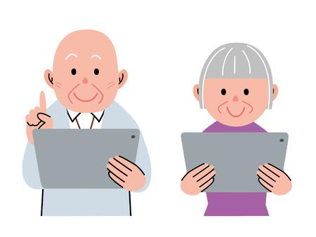 La gente de edad utilizando una tableta