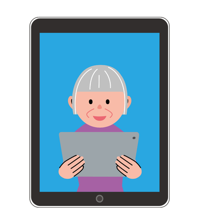 woman tablet: Elderly woman in the tablet