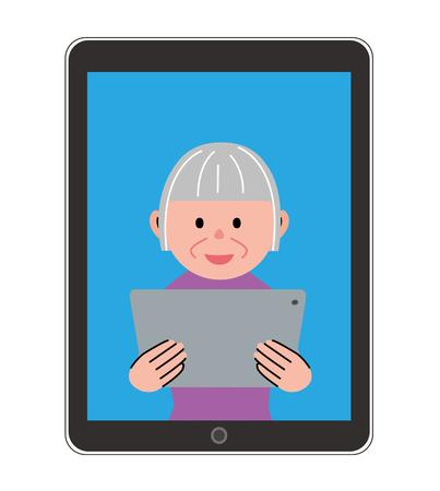 Mujer mayor en la tableta
