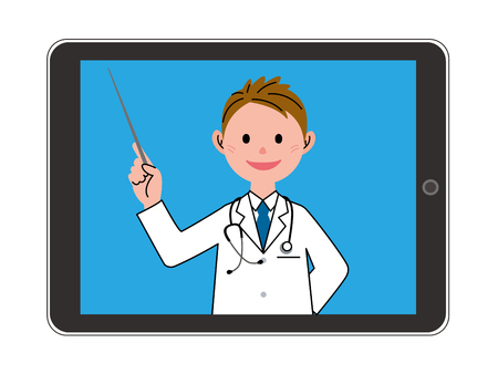 doctor tablet: The doctor who explains by a tablet