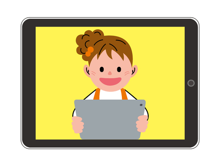 kinder garden: The girl who plays by a tablet
