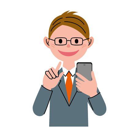 smart man: The man who operates smart phone Illustration