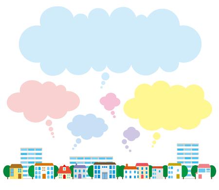 Street and cloud, speech balloon