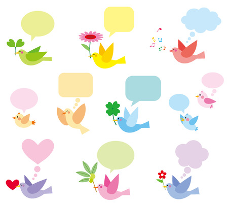 tweet balloon: colorful birds