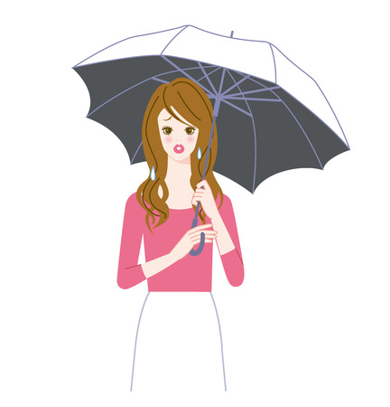 parasol: Worry woman with a parasol