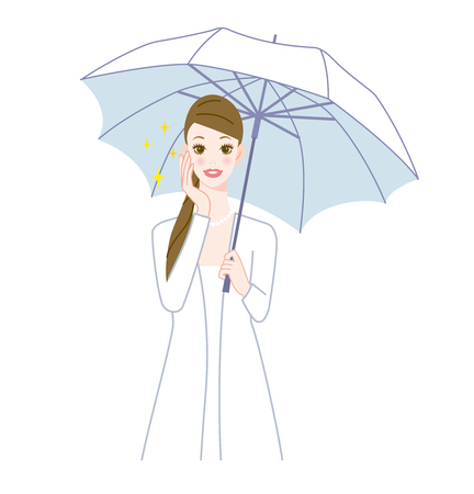 Happy woman with a parasol