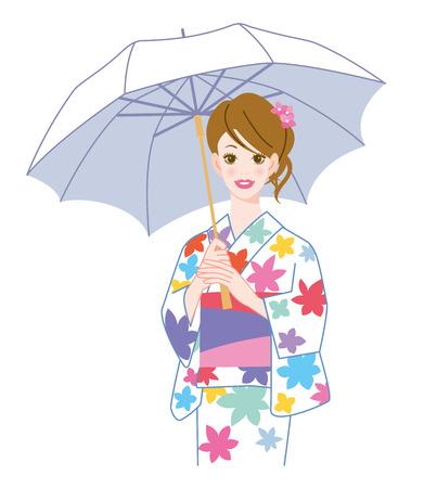 woman  wearing yukata with a parasol