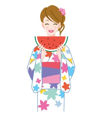 The woman who put on a yukata and watermelon