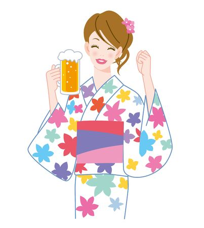 The woman who put on a yukata and beer Stock Photo