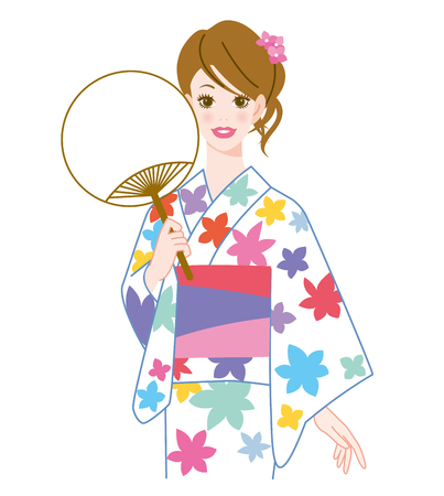 The woman who put on a yukata and fan