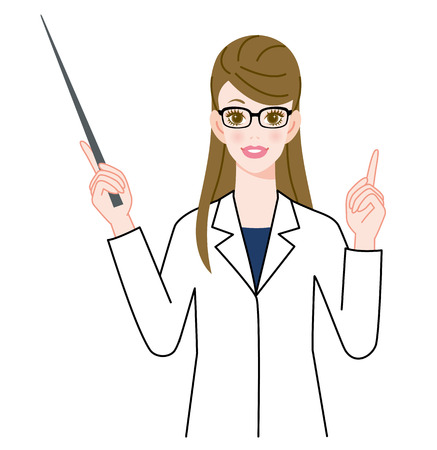 one girl only: The woman who wore glasses and put on a white robe? Pointer? Stock Photo