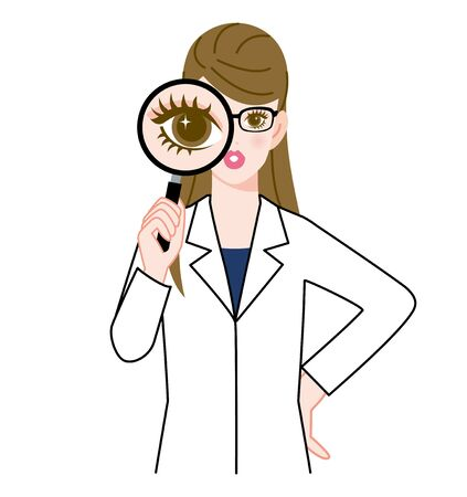 one girl only: The woman who wore glasses and put on a white robe? Magnifying glass