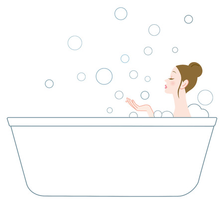 The woman who relaxes by bathing