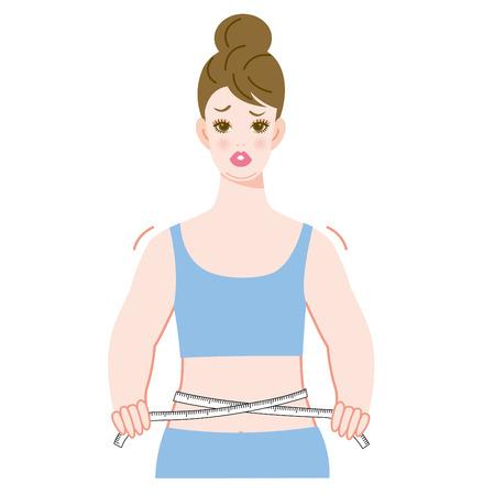 허리를 측정하는 여성 스톡 콘텐츠