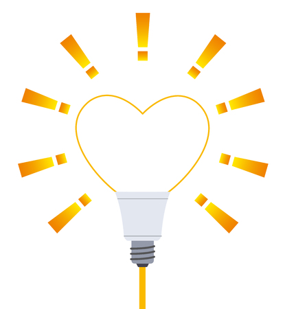 Light bulb at the heart-shaped