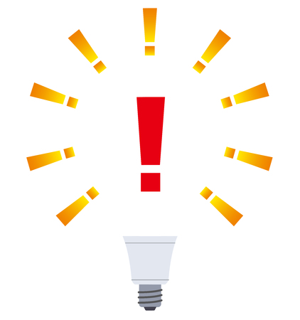 Exclamation point and light bulb