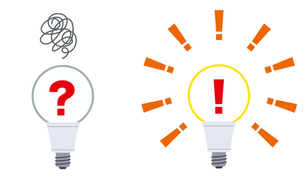 Question mark in the light bulb and Exclamation point