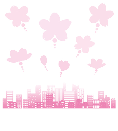 Cityscape of the silhouette and flower of a cherry tree  イラスト・ベクター素材