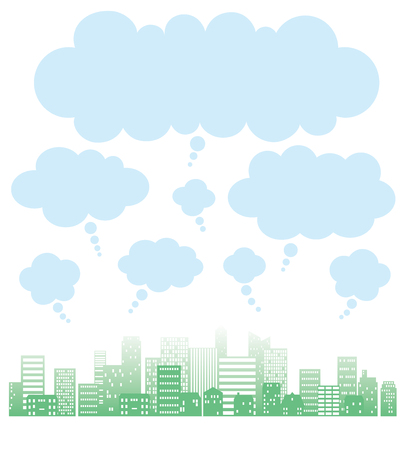 Cityscape of the green silhouette and speech balloons