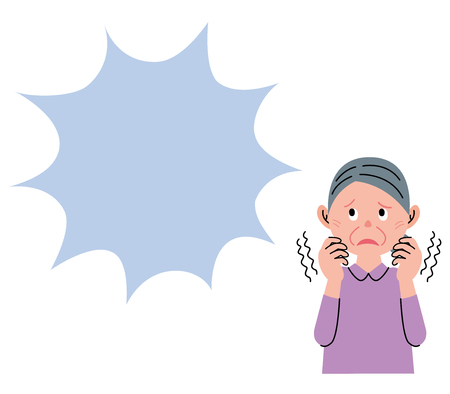 The shivering old woman, and looks up at a speech bubble.