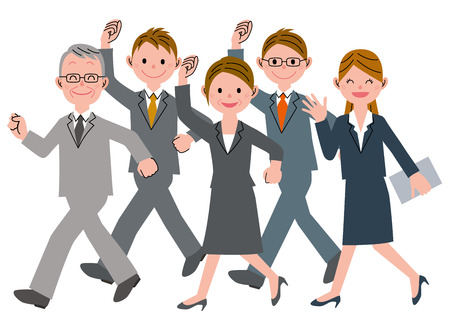 Walking business people Illustration