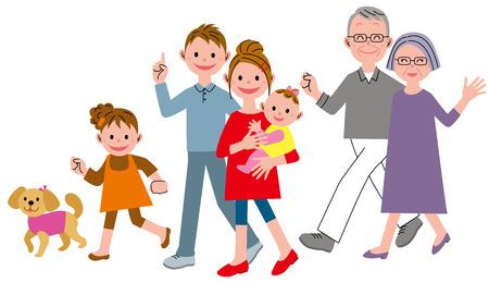 Walking three generations family Illustration